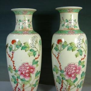 民国 粉彩细瓷富贵白头 观音瓶  双