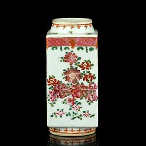 清晚粉彩花卉纹棕式瓶