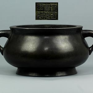清蚰耳圈足铜炉