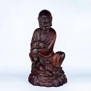 老红木雕戏狮罗汉像