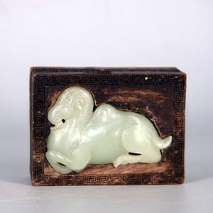 清代木雕镶嵌和田玉木盒