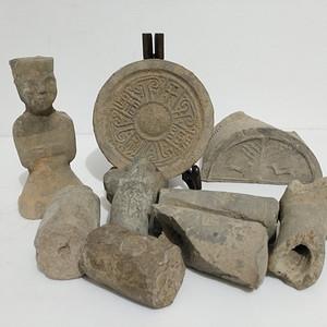 (联盟)汉代陶文,瓦当,陶俑共9件