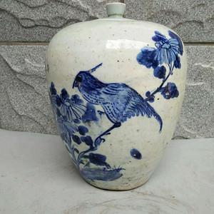 【金牌】晚清青花花鸟罐