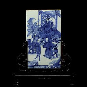 清中期青花西厢人物故事纹瓷板