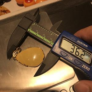 天然鸡油黄蜜蜡925银镶嵌9.4g吊坠