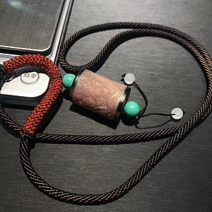 天然保真Hu骨 雕刻貔貅吊坠8mm松石
