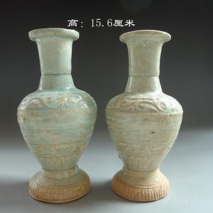 【季度大拍】南宋影青釉满工印花花瓶一对