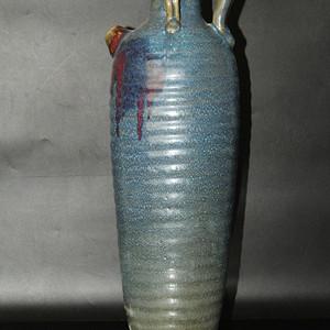 元钧窑天蓝釉紫斑钧瓷执壶