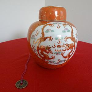 【金牌】【275】民国矾红地开光双龙戏珠纹盖罐