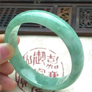 翡翠A货苹果绿宽边手镯0017