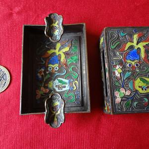 【金牌】【138】晚清铜胎掐丝珐琅火柴盒和小烟碟一套