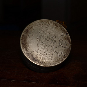 白铜刻画仕女图墨盒 雕刻精细 线条流畅