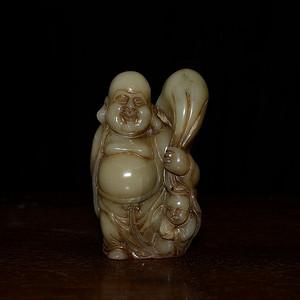 寿山石芙蓉石 精雕大肚弥勒佛 摆件印章