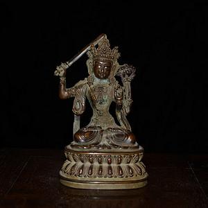 紫铜 藏传佛像 文殊菩萨造像