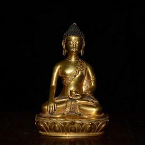 紫铜鎏金 手工錾刻藏传药师佛佛像 面相祥和 原金原底