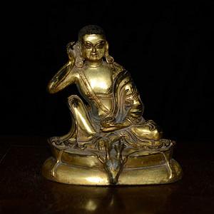 铜鎏金 藏传 米拉日巴尊者像 (造像精美..开脸传神..)