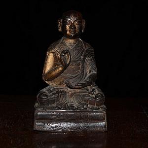 铜鎏金 藏传佛像迦里迦尊者 (造像精美..开脸传神..)