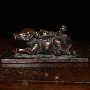 紫铜 浮雕童子牧牛 镇尺 非常厚重