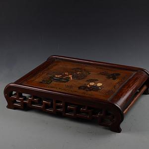 漆器描金彩绘百子图 镂空花梨木 小炕桌