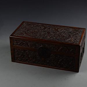 花梨木双龙戏珠纹 特大珍宝箱 栩栩如生 雕工精美 榫卯结构