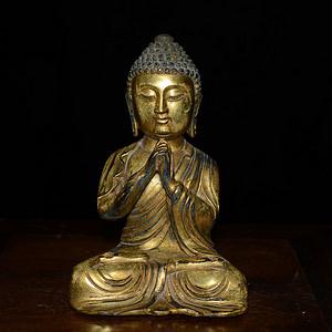 铜鎏金藏传 释迦牟尼佛造像(造像精美..开脸传神..)