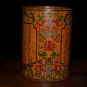 漆器描金彩绘福寿金钱诗文 笔筒
