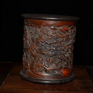 满工竹雕笔筒 竹林七贤图 雕刻精美 人物生动 包浆滋润 意境深远
