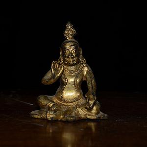 铜鎏金藏传佛像 黄财神 造像