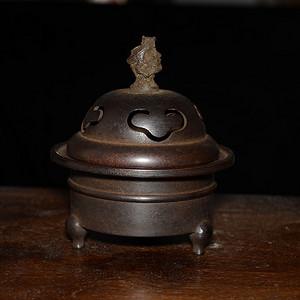 老红铜 三足镂空祥云纹龙钮 香薰炉