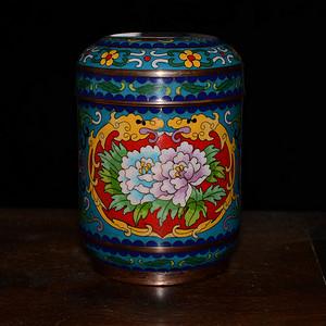 【雅赏】铜胎景泰蓝 掐丝珐琅彩 缠枝莲花卉纹 茶叶罐