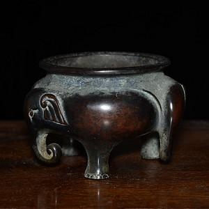 老紫铜 太平有象 三足象耳 宣德炉 器型规整