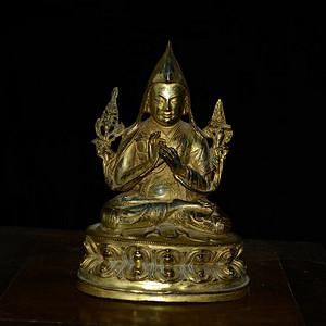 铜鎏金藏传佛像 宗喀巴造像 (造像精美..开脸传神..)