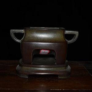 老紫铜四方 双耳炉 带底座 非常厚重
