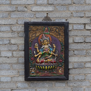 藏区回流紫铜藏传 大幅千手三头六臂佛唐卡