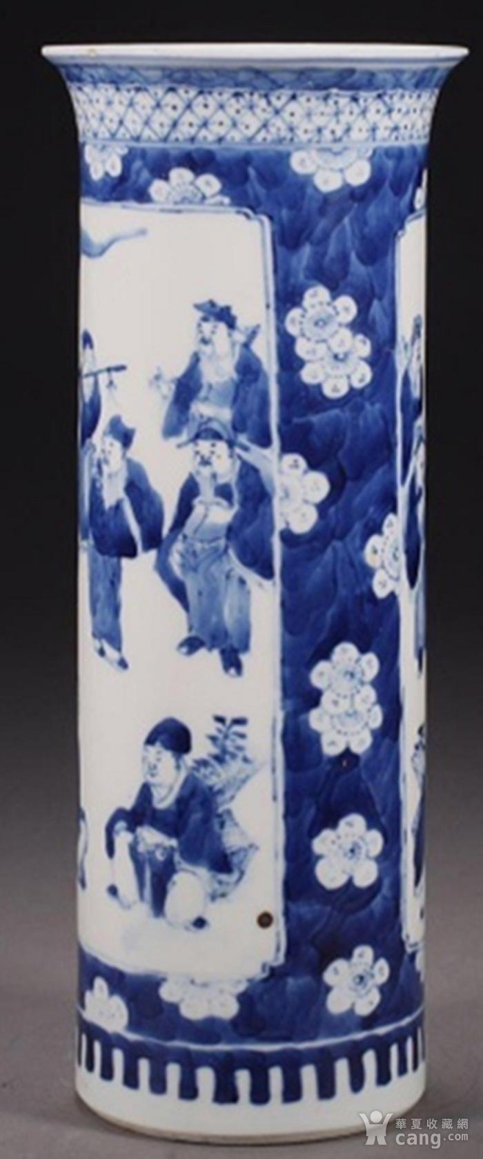 清朝八仙青花筒瓶图6