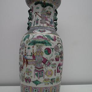 清朝博古纹粉彩大花瓶