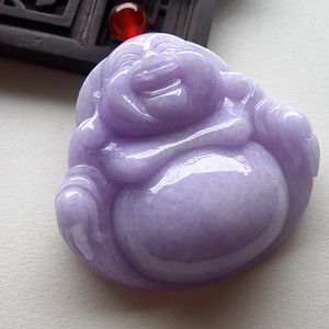 A货翡翠冰糯种紫色佛公53.89g