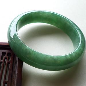 A货翡翠冰糯种满绿手镯76.97g