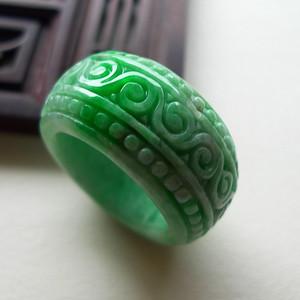 A货翡翠冰糯种复古戒指15.58g
