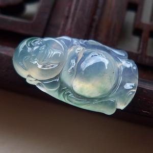 A货翡翠冰种站佛镶件1.15g
