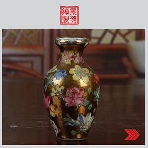 景德镇文革老厂瓷 包老保真 精品收藏 手绘金地万花小花篮瓶
