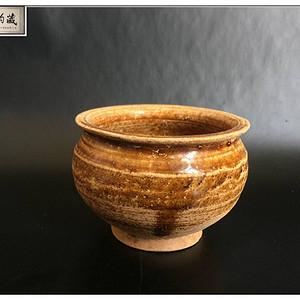 宋 精品吉州窑姜黄釉折沿琴炉