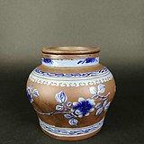 清代紫砂蓝彩狮纹罐
