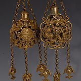 欧洲回流铜鎏金镂空香禳