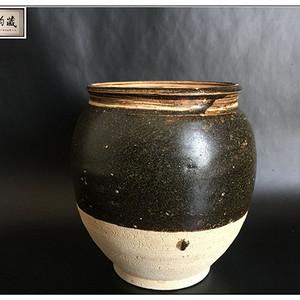 宋 精品吉州窑茶叶末釉大号茶叶罐