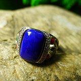 高品质青金石戒指 925纯银镶嵌