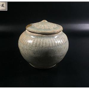 【雅珍美品】宋 精品天蓝釉线条纹盖罐