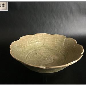 五代 精品越窑青釉葵口碗