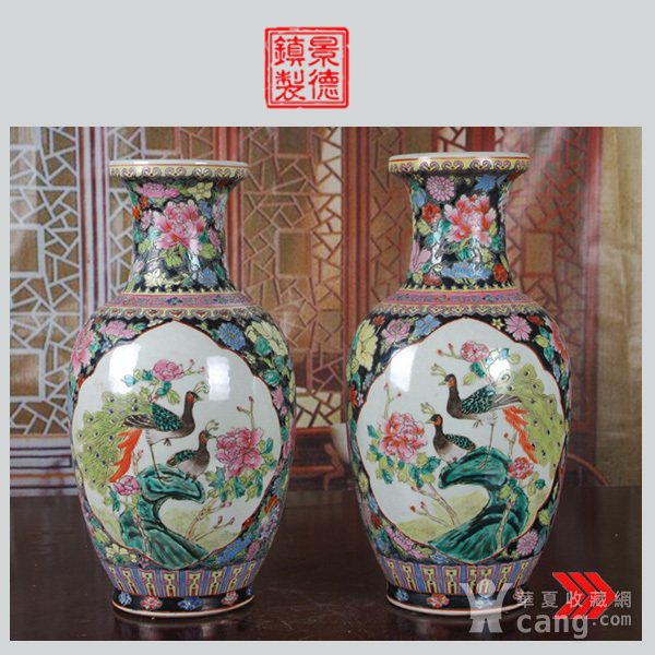景德镇文革老厂瓷 精品 手工彩绘黑地万花开窗花鸟花篮瓶一对图1