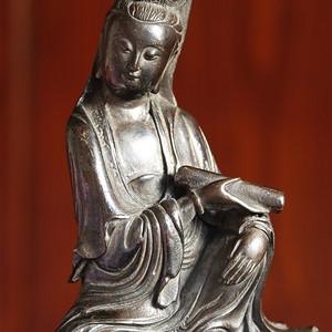 (议价)清代持经文殊菩萨铜鎏金造像精品